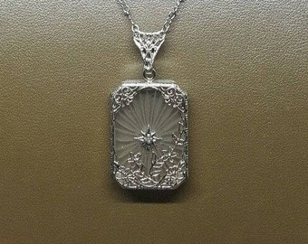 "Vintage Antique Art Deco Sterling Silver Camphor Glass Diamond Filigree Pendant Necklace w/ 16"" Crinkle Chain"