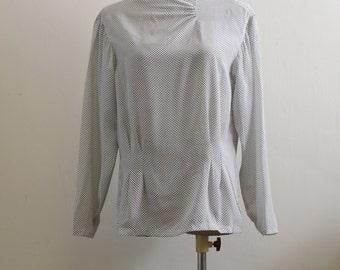 Vintage polka dot high neck long sleeve blouse