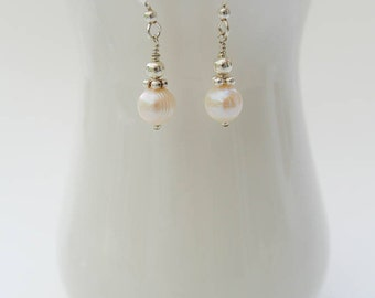 Silver Freshwater Pearl Drop Earrings - Ivory White Round Freshwater Pearl and Sterling Silver Drop Earrings