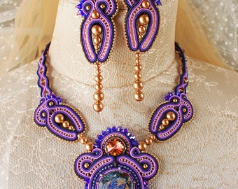 Soutache jewelry set Starry sky. Soutache necklace and earrings. purple necklace.