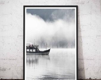 Nordic Print Design, Nordic Poster Print, Nordic Print, Nordic Design Print, Nordic Art Poster, Large Landscape Art, Large Blue Landscape