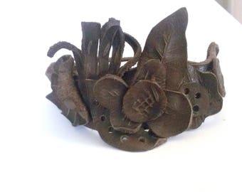 Leather bracelet - whitout metal - handmade - brown bracelet - bangle