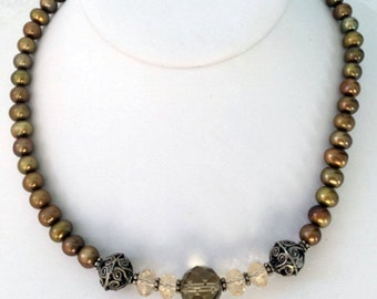 Freshwater pearls, Smoky Quarts, Citrine and Bail Sterling Sliver Necklace