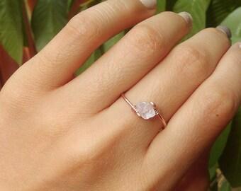 Rose Quartz Pink Ring on 14k Rose Gold Filled Gypsy Bohemian Gemstone Ring rose quartz