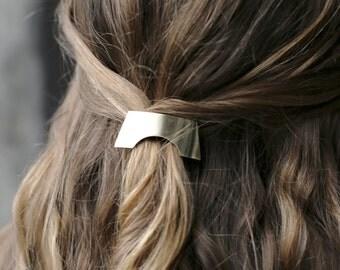 Geometric Barrette, Rectangle Barrette, Minimal Barrette, Simple Gold French Barrette, Rectangle Hair Clip, Brass Hair Clip  The Charity