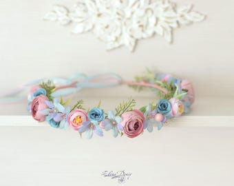 Pink blue flower crown wedding headband bridal hair wreath flowers turquoise head Flower Girl crown blue pink flowers hair Rustic halo
