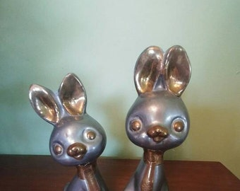Vintage Pewter Brass Rabbits Hong Kong