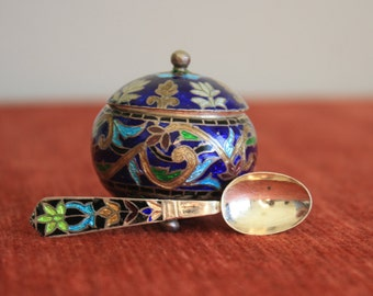 Enamel Cloisonne vintage Indian salt or spice pot with matching spoon. Decorative cruet