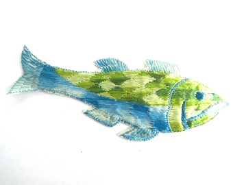 antique Silk Fish Applique 1930s Vintage Embroidered Fish applique, application, patch. Vintage patch, sewing supply. #6A8G43KB