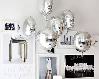 "Silver Round Balloons | 18"" Metallic Silver Round Balloons 