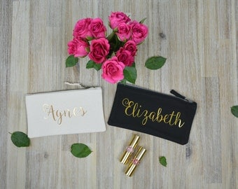 Personalised Make-up Bag, Cosmetic Bag, Metallic Gold or Rose Gold Design, Accessory Case, Name, Personalised Gift