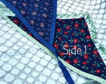 Bandana, floral, polka dot, dog bandana, Size Medium - bandana width 12 inches - tie length 12 inches