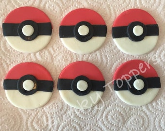 Edible Pokemon Go Pokeball Cupcake Toppers Cake Decorations Sugar Fondant
