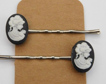 Gothic, Victorian Style Cameo Hair Clips/ Bobby Pins.