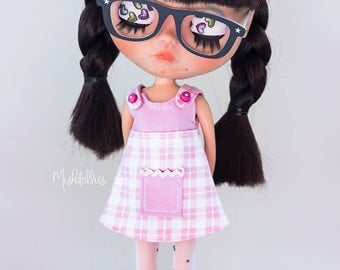 Pinafore Dress and Bow for Blythe doll - Pichi and loop for Blythe doll
