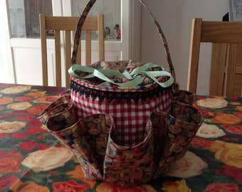NOW REDUCED  Sewing Caddy with 8 pockets  made with Makower Sew Retro Cotton Reels fabric.