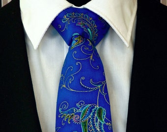 Blue Necktie, Blue Tie, Mens Necktie, Mens Tie, Floral Necktie, Floral, Wedding, Bridal, Fathers Day, Dad, Gift, Birthday, Father, Paisley