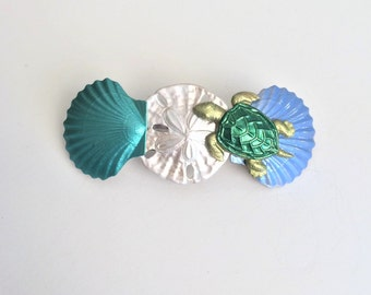 Turtle Seashell Hair Barrette, Sea Turtle French Barrette, Women's hair Clip, Ocean barrette