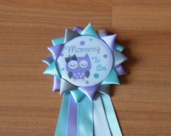 Owl Mommy to be Button Corsage, Mommy to be Pin, Owl Corsage