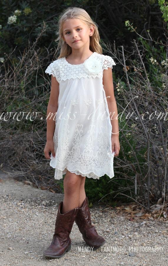 Ivy Dress- Lace Flower Girl Dress, Ivory / Champagne Boho Bohemian Flower girl, Crochet Country Wedding dress, Vintage Rustic Flower Girl