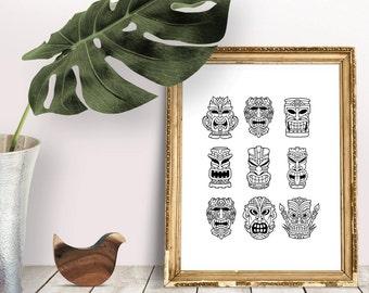 Tiki Printable Poster, Tiki Party Print, Tiki Party Decor, Tiki Icons, Luau Print, Luau Party Decor, Black and White Tikis, Polynesian Art