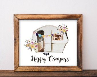 Happy Campers, printable, happy camper, happy camper sign, camper, camper decor, camper sign, camper art, camping signs, camping decor, art