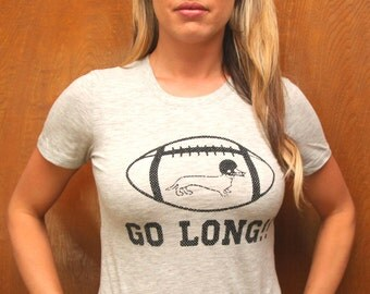 GO LONG!! Light Heather Grey T Shirt, Dachshund,Doxie, Doxies,Weiner Dog, Football, Dachshund Shirt, Wiener Dog, College, Vintage Look