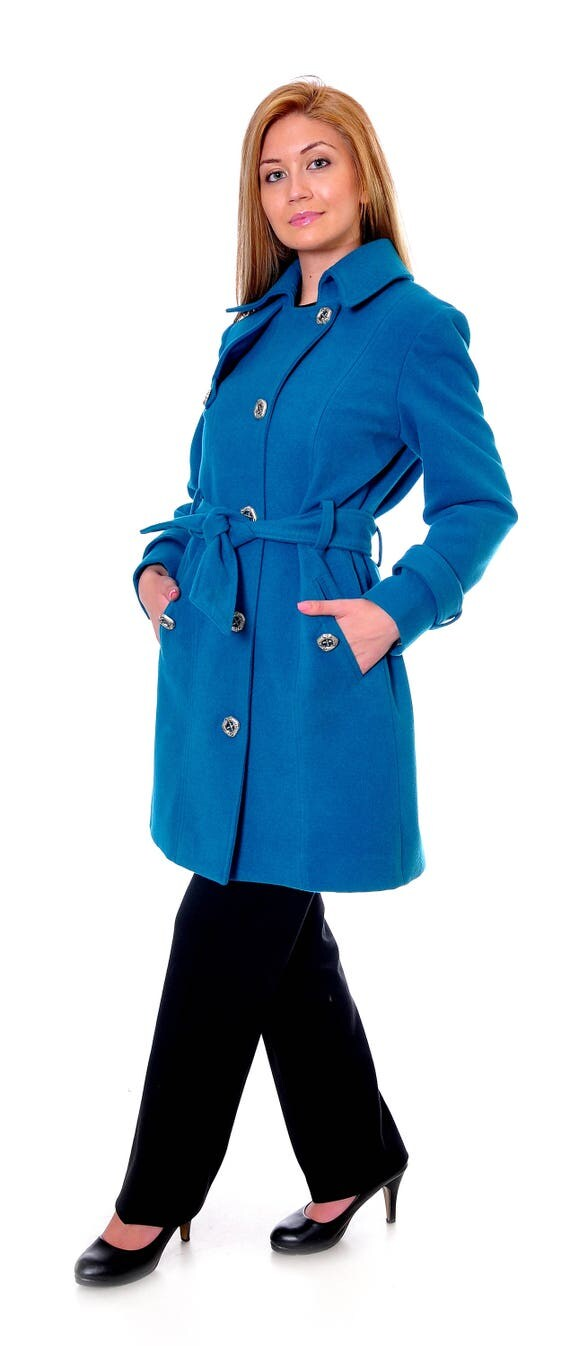 Sapphire Wool Coat Winter Coat Women Womens Wool Coat