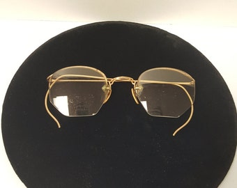 Turn of the Century - Early 1900s Brass Framed Bifocal Spectacles Eyeglasses