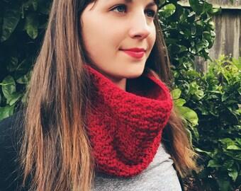 Handmade Red Scarf Cowl Crochet