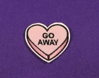 Loveheart patches / heart patches / Go Away patch / iron on patch / sew on patch
