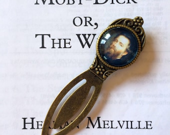 Herman Melville Bookmark - Moby-Dick; or, The Whale Bookmark, Moby Dick Gift, Vintage Moby Dick Bookmark, Bookmark for Sailor, Whale Gift