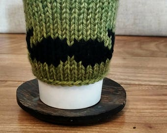 Reusable Green with Black Mustache Knit Beverage Sleeve