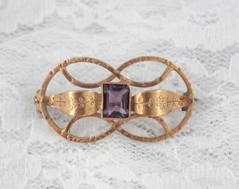 Victorian Amethyst Paste Brooch, Gold Tone Antique Brooch, Open Knot Brooch, Purple Glass Brooch, Faux Amethyst Brooch