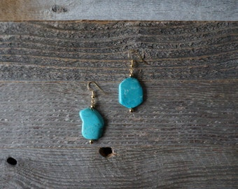 Turquoise Dangle Earrings, Chunky Turquoise Drop Earrings, Turquoise and Gold Earrings, Turquoise Howlite Earrings, Handmade Earrings