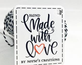 Handmade with Love, Handmade Tags, Thank You Tags, Made With Love Tags, Custom Tags, With Love Tags, Made with Love, Handmade Items, 16