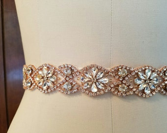Wedding Belt, Bridal Sash Belt - ROSE GOLD Crystal Wedding Sash Belt