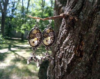 Dangle earrings Steampunk jewelry Girlfriend gift Hoop earrings Geometric jewelry Statement earrings Modern earrings Teen girls gift present