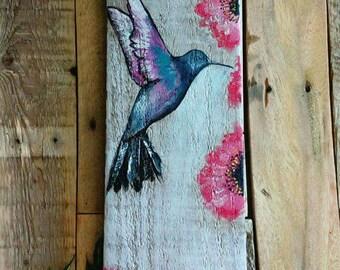 Hummingbird art on reclaimed wood