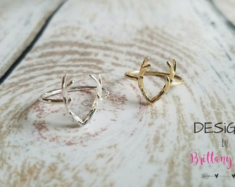 Double Antler Ring | Gold | Silver