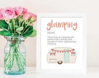 Glamping Art Print, Vintage Camper Art Print, Printable Art Glamping Definition Art, Glamping Party Glamping Decor Glamping Sign Camper Sign
