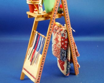Dollhouse Miniature accessory in twelfth scale or 1:12 scale.  Quilter's Ladder.  Item # 331.