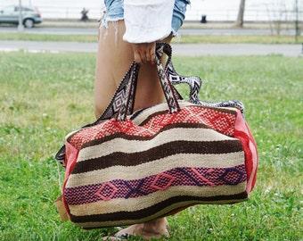 FREE SHIPPING!! vintage travel bag, gypsy overnight bag, carry on bag, weekender bag, peruvian weekender