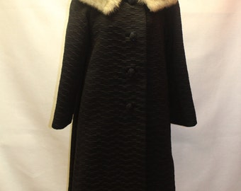 Gorgeous Vintage Coat.  Black Textured Fabric with Gray Mink Collar