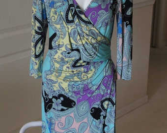 ETRO Paisley Dress - 3/4 Length Sleeves - Euro Size 46 - US Size 14 Aqua Royal Purple Yellow Black Jersey