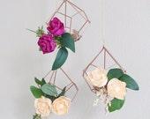 Geometric Hanging Decor  // Geometric Wedding Decor // Wedding // Wall Hanging // Handmade Crepe Paper Flowers