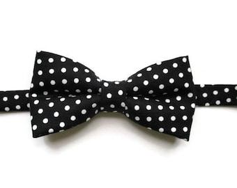 Black Polka Dot - Boys Bow Ties - Bow Tie for Boys - Pre-tied Bow Tie - Little Boy Bow Tie - Kids Bowtie