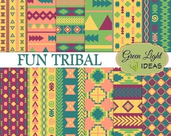 Tribal Digital Papers, Aztec Patterns, Tribal Backgrounds, Native American Printable Papers, Geometric Scrapbook Papers, Aztec Papers