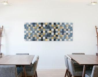 Wood wall art, wooden wall decor, reclaimed wood wall sculpture, rustic, wooden mosaic, modern wood art wall hanging, gray and gold wood art
