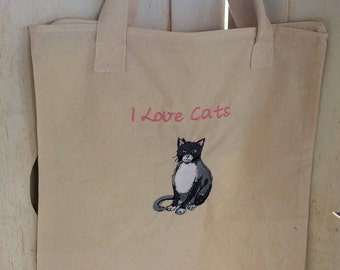 Cat lover - Canvas zippered tote bag with embroidered cat - for the cat lover -FREE SHIPPING